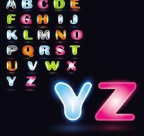 框边透光英文字母矢量素材