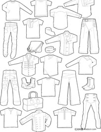 男士服装款式版型矢量图