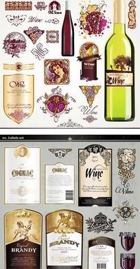 西洋葡萄酒瓶贴矢量图