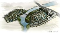 小区规划鸟瞰图PSD分层素材
