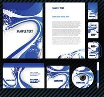 蓝色动感企业VI手册系列设计模板