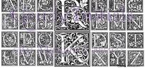 欧式华丽方形字母设计(共26个字母)