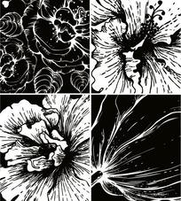 黑白花卉版画手绘