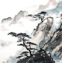 水墨画山峰上的树木图片