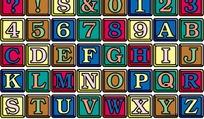 彩色方块英文字体设计矢量素材