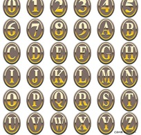 金属标牌英文字体设计矢量素材