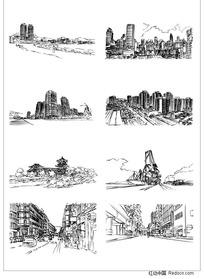 城市建筑矢量手绘