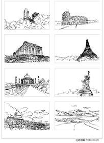 建筑矢量手绘