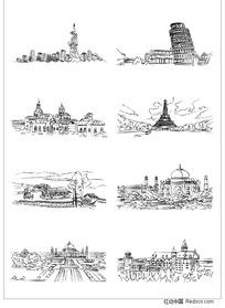 欧洲建筑矢量手绘
