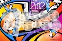 2012新年抽象图案日历矢量素材