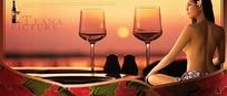 红酒与美人海报设计