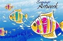 海底鱼群插画海报