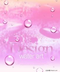 韩国最新水滴-粉红色水珠背景