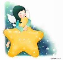 抱着星星睡觉的小女孩插画