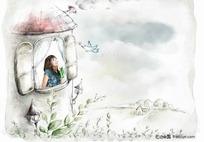 房子里的女孩插画