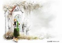 房子前面的女孩插画