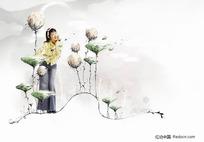 花里面的女孩psd分层图片