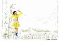 桔色衣服的女孩插画