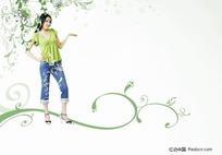 绿色衣服的女孩插画