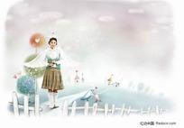 天使翅膀的女孩插画