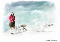雪地上的女孩插画