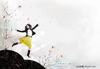 在水墨山丘上跳跃的女孩插画