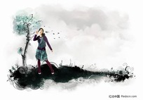 站在水墨上的女孩插画