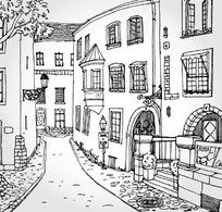 手绘建筑速写矢量素材
