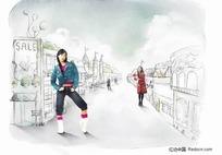 女孩站在街道插画