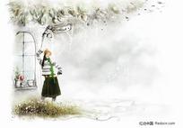 站在窗前的女孩插画