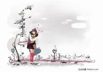 站在铃铛前的女孩插画