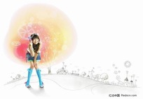 站在书前的女孩插画