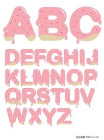 草莓酱英文字母矢量素材