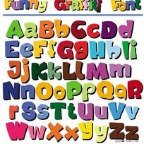 卡通POP英文字母矢量素材