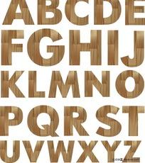 26个英文字母木纹矢量图