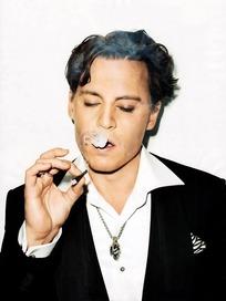 吐烟圈的外国成熟男士