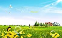 绿色生活PSD背景素材