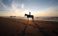 沙滩骑马剪影