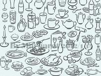 简约白描餐具图案