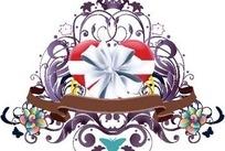打着蝴蝶结的心形与花纹图案矢量