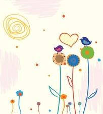 童趣涂鸦版相爱的小鸟