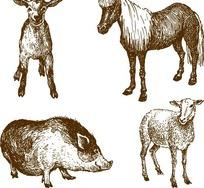 线描动物矢量素材