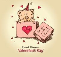 情人节可爱卡通爱心小熊插画