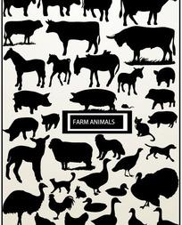 各种牲畜家禽剪影矢量素材