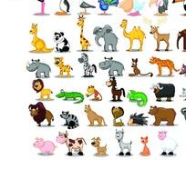 可爱卡通动物集锦矢量素材