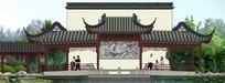 中式风格连廊和照壁立面图