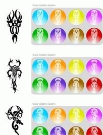 3款精美矢量花纹彩色应用图标