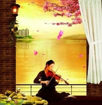 水岸边拉小提琴的美女意境图片