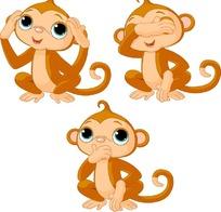 卡通可爱猴子矢量素材