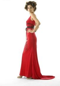 性感/红色长裙礼服的性感女模特